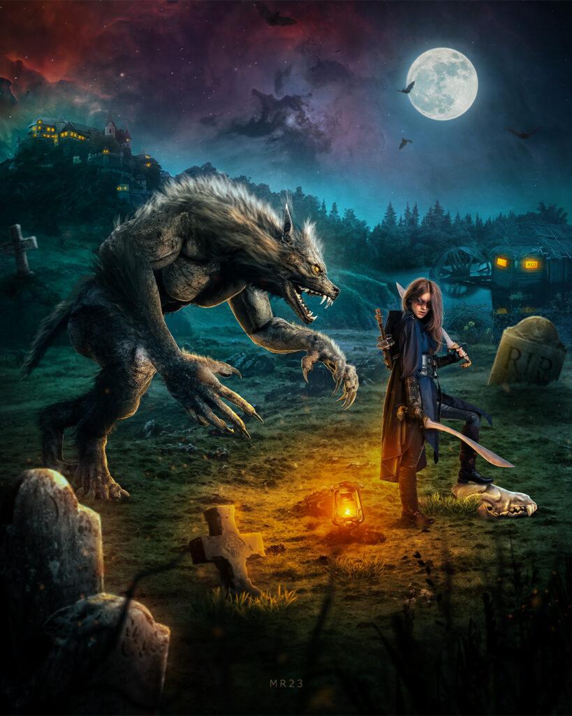 The Werewolf and The Hunter- Mr23 Photo Manipulation Tutorial